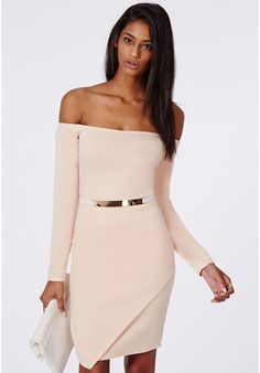 Vita Scuba Asymmetric Hem Bardot Bodycon Dress