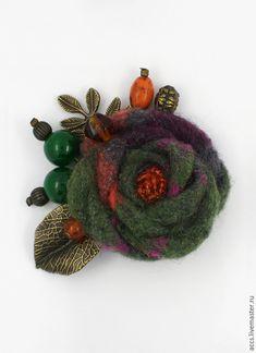 """Купить Брошь """"Хвойный лес"""" - брошь, текстильная брошь, брошка, Текстильная брошка, брошь цветы"""