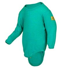 Janus 100 Merino Wool Baby Bodysuit Long Sleeve Machine Washable Made in Norway Turquoise