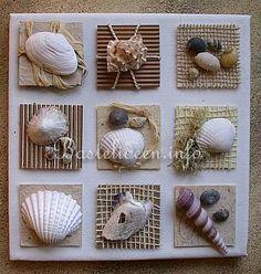 Keilrahmen-Bild mit Inchies - Seemuscheln und Strandgut. Werdet kreativ!
