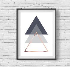 Gray Printable Art Abstract Poster Geometric Print Triangle Wall Art Rose Gold Print Scandinavian Poster Geometric Decor INSTANT DOWNLOAD por PrintAvenue
