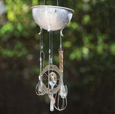 Colander wind chime idea