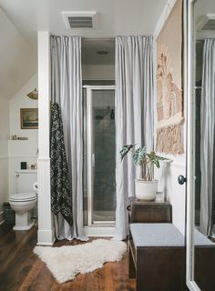 A Mid-Century Eclectic Seattle Abode. Wash Shower CurtainDouble ... & shower curtain over glass doors - Google Search | Bathrooms ...