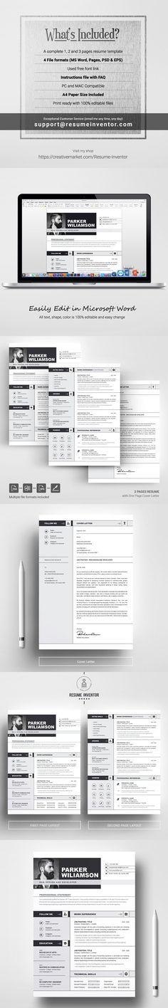 The Power Resume/CV Set Template Resume Design Pinterest