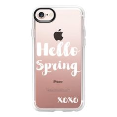Modern white hello spring typography xoxo by Girly Trend - iPhone 7... ($40) ❤ liked on Polyvore featuring accessories, tech accessories, phone cases, phone, iphone case, iphone cover case, apple iphone case, clear iphone case, iphone cases and white iphone case