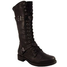 Womens Tall Black Lace Up Military Boots: Amazon.co.uk: Shoes & Bags