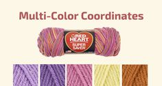 Need help mixing and matching with multis and solids Red Heart yarn? here is the link that will help! Click on Multi Coordinates list....