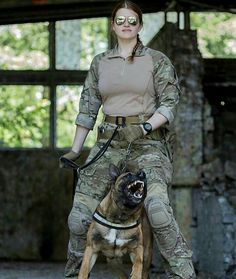 Badass infantry women with a badass dog #military