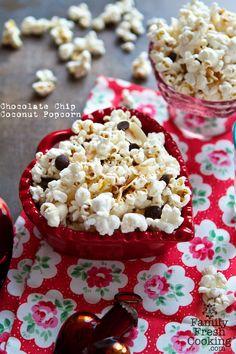 Chocolate Chip Coconut Popcorn | Recipe on FamilyFreshCooking.com @marlameridith