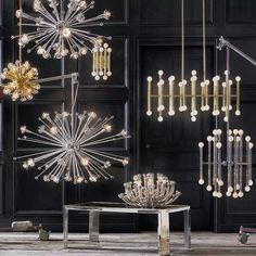 Sputnik Chandelier in Polished Nickel by Jonathan Adler features 24 arm lighting. Scalloped details and crystal accents boast otherwordly effect. Futuristic design is a serious style contender! Rectangle Chandelier, Sputnik Chandelier, Modern Chandelier, Chandelier Lighting, Chandeliers, Luxury Lighting, Modern Lighting, Modern Light Fixtures, Idee Diy