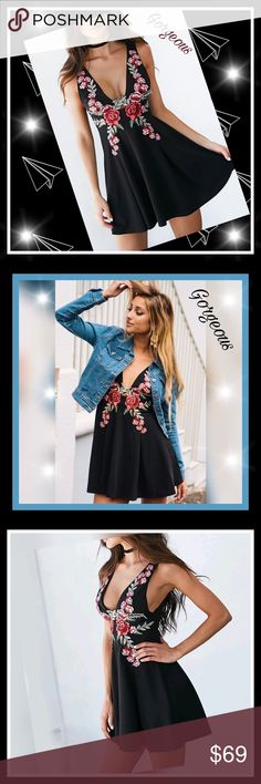 ⚘🍃just arive , Stunning black embroidered dress⚘ ⚘🍃brand new rose pattern dresses are all the rage! Black , this dress is loose fitting, with a low v-cut chest and bottom that hangs short. It's a sexy look that's perfect for wearing on a night out , cruise,beach ,or even to a dinner party or other special event. Along the upper half of the dress is a stunning, vibrant rose pattern that brings the dress to life. It's a style that makes this dress a great go-to choice in your closet! in…