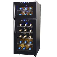 NewAir AW-210ED Streamline 21 Bottle Dual Zone Thermoelectric Wine Cooler, Black - http://www.rekomande.com/newair-aw-210ed-streamline-21-bottle-dual-zone-thermoelectric-wine-cooler-black/