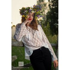 Manually embroidered Romanian blouse ie romaneasca bohemian top