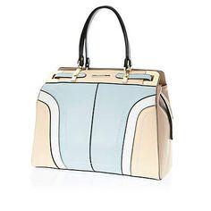 Light blue colour block structured tote bag $90.00