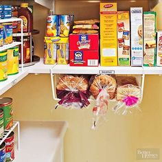 Keep morning meals in an easy-access spot. Breads fit in an undershelf basket, and a double-decker turntable makes the most of a corner. organization Zoning is the Best Way to Organize Your Pantry Diy Kitchen Storage, Pantry Storage, Kitchen Pantry, Bread Storage, Kitchen Decor, Organizing A Pantry, Kitchen Ideas, Organize Small Pantry, How To Organize
