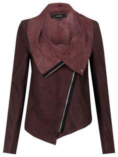 more Cherry Red // Muubaa Alexis Drape Suede Jacket