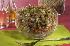 Salada de lentilha com cenoura e acelga