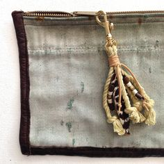 FEATHER & ROPE TASSEL - with salvaged cord from vintage army tent - Den & Delve Accessories