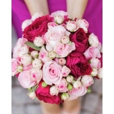 Pink Rose & Spray Rose Brides Bouquet