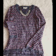 Pom Pom sweater Super cute! Small Pom Pom effect. Denim blue highlighted in pink. Perfect condition. Bust:34, length 24. Hi-low, longer in back. 80% acrylic 20% polyester. Hand wash. trades Pink Rose Sweaters Crew & Scoop Necks
