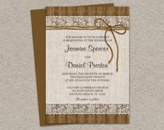 Rustic Wedding Invitations With Burlap Lace And Twine, DIY Printable Burlap And Lace Wedding Invitation Cards