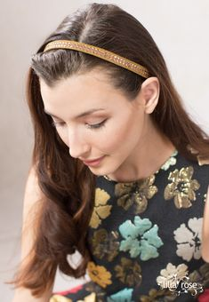 She glows in Lilla Rose! Bronze diamond-shaped stones shine brightly in the Jaimie Hairband from Lilla Rose! Mom Hairstyles, Headband Hairstyles, Straight Hairstyles, Rose Hairstyle, Hair Sticks, Brunette Hair, Hair Band, Hair Clips, Curly Hair Styles