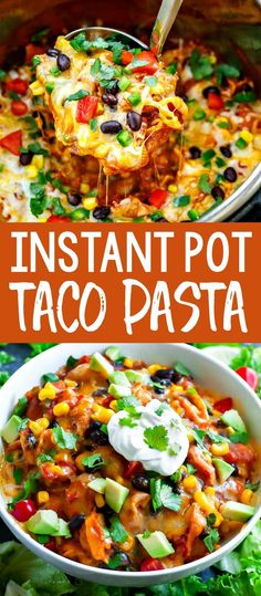 This Instant Pot Taco Pasta makes a quick and easy weeknight dinner that's sure to be a hit with the entire family! I love having this easy cheesy vegetarian pasta dish in our weekly dinner rotation and keep things fun by to changing up the toppings each time based on what ingredients we have on hand. #instantpot #pressurecooker #onepot #onepan #pasta #tacopasta #vegetarian