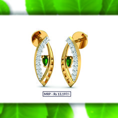 The lovely green middle with gold surrounding on one side and white serene diamonds on the other side, is a delicate yet stimulating one. Order now and get it delivered at your doorstep from plushvie. Shop Jewellery on EMI and pay at ease . Gold Studs, Diamond Studs, Diamond Jewelry, Gold Jewelry, Fine Jewelry, Jewellery, Ear Studs, Gold Pendant, Jewelry Shop