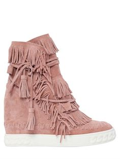 CASADEI 80MM FRINGED SUEDE WEDGE BOOTS