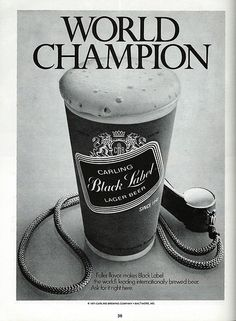 """Vintage Beer Advertising: Carling Black Label Lager Beer, Carling Brewing Company, Baltimore, Maryland, """"Fuller flavor makes Black Label the world's leading internationally brewed beer. Ask for it right here."""" From the 1971 Baltimore World Series Booklet."""