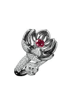 Qeelin Lotus Flour Ring in diamonds & rubies!