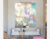 "Items similar to 48""x60"" Large Canvas Art, Amanda Faubus Gold Leaf Original Painting, Abstract, pink, creme, white, grey, blue, Canvas Art, Urban, Loft, Boho on Etsy"