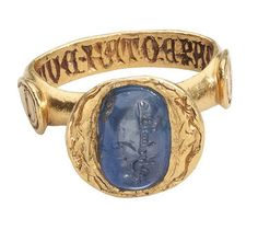 Medieval Sapphire and Gold Ring set with a 10th century Sapphire inscribed in Arabic. Les Enluminures