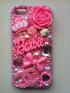 Barbie diamanté deco on pink case iPhone 5