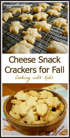 Great recipe for cooking with kids! Cheese Snack Crackers for Fall~ Buggy and Buddy