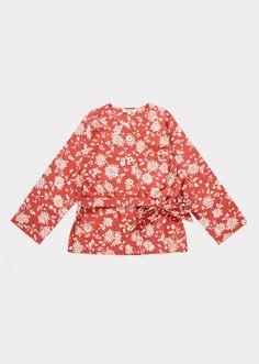 Kale Jacket, Brick Red Kimono Print