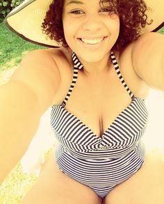 0b67af59f6  curls  curlyhair  curlyhairdontcare  heat  stripes  swimmwear  plussize   happy  sun  hot  smile  sunshine  summer  lovetheskinyourein  modeloffduty  ...