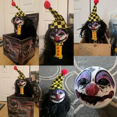 Make your own scary Jack in a Box. Make your face using a foam ball or something else of your choosing. I made the hat and clothes from felt . I placed a wooded dowel through the head and into a foam block to hold up the head. I built the box out of wood Freak Show Halloween, Soirée Halloween, Scary Halloween Decorations, Halloween Carnival, Halloween Haunted Houses, Holidays Halloween, Haunted Carnival, Creepy Carnival, Manualidades Halloween