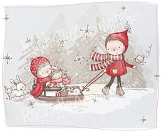 """Sled Ride"" by Rachelle Anne Miller Christmas Cards, Christmas Ornaments, White Christmas, Christmas Illustration, Digi Stamps, Illustrations, Texture Art, Creative Studio, Embroidery Art"