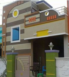 elevations of independent houses House Front Wall Design, House Outer Design, Single Floor House Design, House Outside Design, Village House Design, Small House Design, Modern House Design, Bungalow Haus Design, Duplex House Design