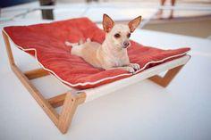 Bamboo Dog Hammock.Pet Friendly Interior Designs We Love at Design Connection, Inc. | Kansas City Interior Design http://designconnectioninc.com/blog/ #InteriorDesign #PetFurniture