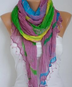Ombre Silk Scarf    Bead edge  Shawl Scarf   by fatwoman,