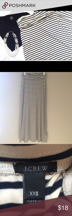 J Crew striped maxi skirt This navy and cream striped knit maxi skirt is incredibly comfortable. Only worn once and in terrific condition! J. Crew Skirts Maxi