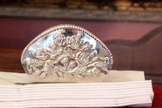 Silver Plate Napkin Holder - Floral Repousse - Rose Design with Beaded Edge