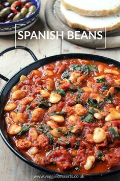 Vegetarian Recipes Discover 54 Cheap Vegan Meals That Dont Skimp On Taste These Spanish Beans with Tomatoes are easy to make and the smoky sweet spices make it perfect to serve as tapas or a side dish with crusty bread. Tapas Recipes, Veggie Recipes, Whole Food Recipes, Cooking Recipes, Healthy Recipes, Budget Recipes, Free Recipes, Vegan Bean Recipes, Dinner Recipes