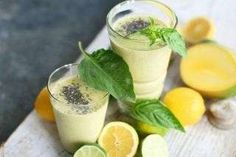 Basil mango lime smoothie with chia