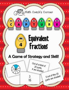 Capture 4 Equivalent Fractions by Math Coach's Corner Fractions Équivalentes, 4th Grade Fractions, Teaching Fractions, Equivalent Fractions, Fourth Grade Math, Teaching Math, Teaching Ideas, Math Strategies, Math Resources