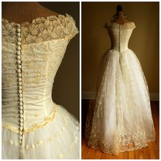 Hey, I found this really awesome Etsy listing at https://www.etsy.com/listing/187872006/1950s-wedding-dress-button-down-back