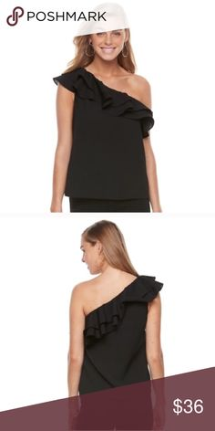 Ruffle one shoulder top PRODUCT DETAILS Show off your fashion-forward style in this women's one-shoulder top.  PRODUCT FEATURES One-shoulder design Ruffle detail Asymmetrical neckline 1-short sleeve, 1-sleeveless FABRIC & CARE Hand wash D* 3.14 Tops