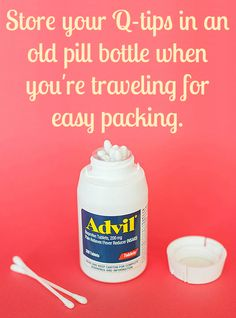 Stick a few cotton swabs in an empty pill bottle that is small enough to fit in your purse and the perfect size for traveling.